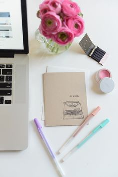 {Currently on my desk: a card for a friend, pastel pens, RMS 'Demure', ranunculus and a cute matchbook} Office Decor, Home Office, Office Ideas, Desk Inspiration, Desk Organization, My Room, My Dream Home, Decoration, Interior And Exterior