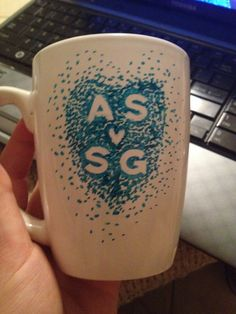 Sharpie and sticker coffee mug! DIY