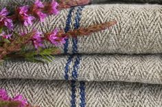 Grainsack Endless Love - Antique and handmade linen rolls and grain sacks. Welcome to our world of unique and changeless antique textile treasures.-antique dyed french linen roll grey cornflower blue stripes 2.18y T 679