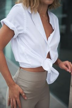 white knotted blouse