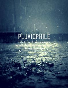 """Pluviophile -- """"a lover of rain, someone who finds joy and peace of mind during rainy days."""""""