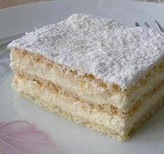 Hihetetlenül omlós szalalkális krémes - BlikkRúzs Hungarian Desserts, Hungarian Recipes, No Bake Desserts, Delicious Desserts, Yummy Food, Cake Recipes, Dessert Recipes, Dessert Drinks, Sweet And Salty