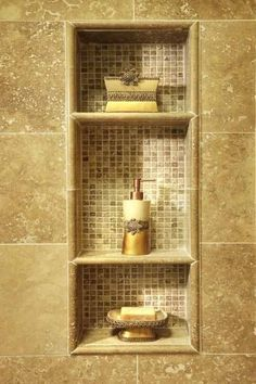 Built in shelf - used mosaics inside - better than big cut pieces for the shower stall - love it!!