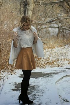 White Lace 3/4 Slv Top + Statement Necklace + Tan Leather Skater Skirt + Black Opaque Tights + Black Ankle Boots