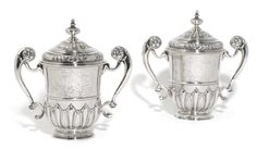A pair of Queen Anne silver cups and covers, Anthony Nelme, London, 1705   sold 12,500 GBP