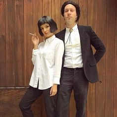 Emily even paired up with the perfect Vincent Vega. John Travolta and Uma Thurman would be proud. & Pulp Fiction Couple Costume | A little something extra | Pinterest ...