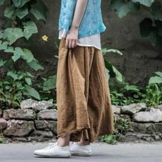 Material: cotton,linen Length:ankle-length Details:pocket,distressed Style: casual Waist:natural waist Season:summer,autumn Color:yellow brown One Size Fit S/M( Summer Wedges, Linen Trousers, Ankle Length Pants, Linen Blouse, Brown Pants, Yellow And Brown, Lingerie, Birkenstocks, Wide Legs