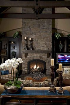 Living Room with Fireplace Design and Ideas That will Warm You All Winter. Family room design with tv, Living room orientation and Living room bar. Fireplace mantle, Fireplace remodel and Fireplace redo. Reclaimed Wood Fireplace, Wood Fireplace Surrounds, Painted Brick Fireplaces, Rustic Fireplaces, Home Fireplace, Living Room With Fireplace, Fireplace Design, Fireplace Ideas, Fireplace Mantels