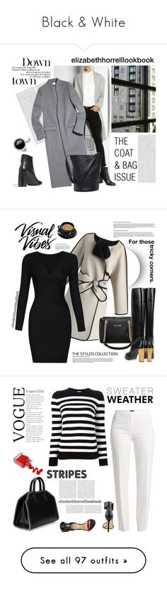 """Black & White"" by elizabethhorrell ❤ liked on Polyvore featuring Studio Nicholson, Oris, STELLA McCARTNEY, Sole Society, Coffee Shop, Chicwish, Basler, Yves Saint Laurent, GUESS and ESCADA"