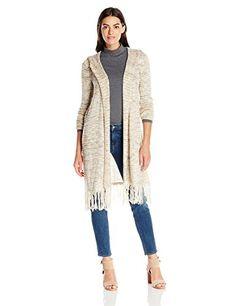 OneWorld Women's Long Sleeve Marled Yarn Pointelle Duster-$34.00