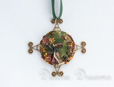 Pagan Wiccan Woodland Autumn Halloween Witch Art Pendant Original Wearable Art Jewelry Unique Cameo Sculpted - Wiccan Fall Halloween Jewelry on Etsy, $90.00