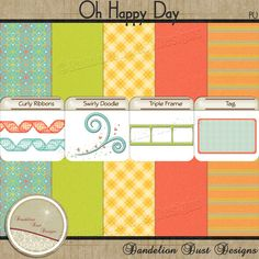 Digital Scrapbooking Oh Happy Day Freebie #DandelionDustDesigns #DigitalScrapbooking