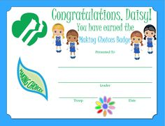 Daisy Making Choices Badge Certificate