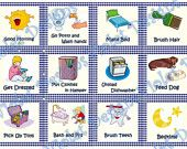 Digital Childrens or Toddlers Gingham Chore Card Set For Boys - Can be used as a stand alone with keyring or on a chore chart. $8.00, via Etsy.