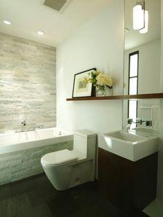 Love this sleek, modern bathroom