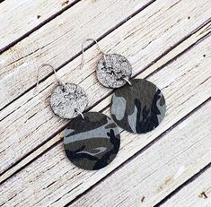 Camouflage Leather Earrings, Camo Earrings, Circle Leather Earrings, Leather Dangles, Camouflage Jewelry, Camo Jewelry, Military Earrings by whiteshedcreations on Etsy