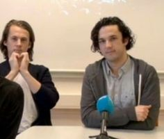 Blurred photo, but we can see Bård making a heart with his hands.