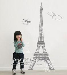 Eiffel tower wall decals Paris vinyl wall decals Urban wall decal children birthday gift wall  sticker - Eiffel tower Z130 by cuma. $43.00, via Etsy.