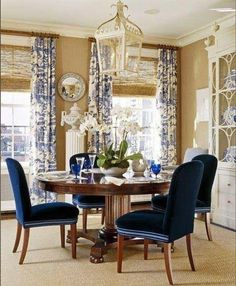 Large Dining Room Table Seats 12 is not an easy furniture to find. Our list surely will help you find the high-quality dining table with reasonable price. Dining Room Drapes, Dining Room Blue, Dining Room Design, Blue And White Living Room, World Of Interiors, Piece A Vivre, Custom Curtains, Custom Fabric, Round Dining Table