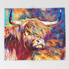 Highland Cow Painting, Highland Cow Art, Scottish Highland Cow, Highland Cattle, Cow Canvas, Canvas Art, Canvas Paintings, Animal Paintings, Animal Drawings