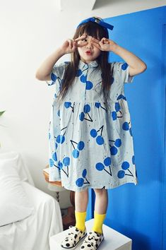 AeHem Cherry Dress in 2 colors at Color Me WHIMSY - contemporary kid's clothes ethically made in South Korea