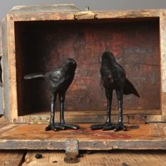 Rustic Bird Figurines, Set of 2