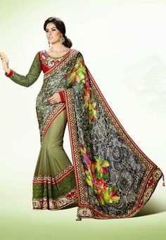A charming Green Color Satin& Net & Net Jacquard #DesignerSaree featuring a vibrant leaft print with a gota patti, zari, lace and embroidered border with tassels on the pallu. The Saree is accompanied by a equally stunning Blouse Piece. Look your ethnic best wearing this Green Color Satin& Net & Net Jacquard Designer Saree.