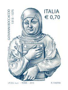 Francobollo commemorativo di Giovanni Boccaccio, nel VII centenario della nascita. Raffigura una scultura rinascimentale di Giovanni Francesco Rustici dal titolo Cenotafio, realizzata nel 1503.