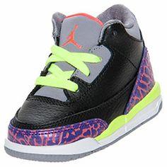 Girls' Toddler Air Jordan Retro 3 Basketball Shoes | FinishLine.com | Black/Atomic Red/Cement Grey/Volt