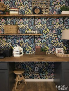 Creating and accent wall with workstation in home office including Removable wallpaper! Home Office, Guest Room Office, Office Walls, Office Decor, Accent Wallpaper, Office Wallpaper, Wall Wallpaper, Sweet Home, New Homes