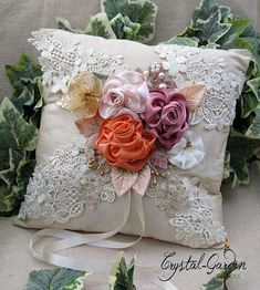 RING BEARER PILLOW - Silk Dupion, Ribbon work flowers, Lace, Pearls - Beautiful Wedding Gift!  Unique / One of a kind - Ready to ship!