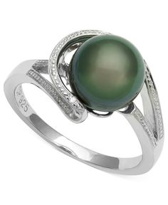Sterling Silver Ring, Cultured Tahitian Black Pearl and Diamond Accent Circle Ring - Rings - Jewelry & Watches - Macy's