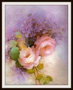 Pink Roses Purple Lilacs Still Life Book by GailsPrintCrafts