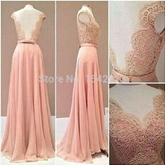 Lace Rude Style Prom Dress Blush Pink Chiffon Evening Gowns