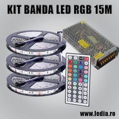 Kit banda led rgb 15 metri 5050 smd