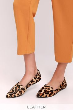 0274e7130a Emmy Leather Leopard Calf Hair Pointed-Toe Loafers Pointed Toe Loafers, New  Wardrobe,