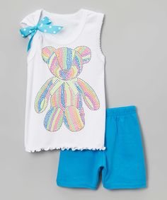 Look at this #zulilyfind! Beary Basics White Rainbow Bear Bow Tank & Shorts - Toddler & Girls by Beary Basics #zulilyfinds