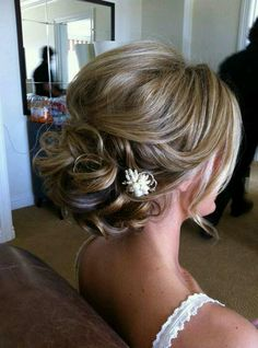 I do like the little ones, but not sure with hair down.  Bridal hair sweeping twisted pieces pulled back