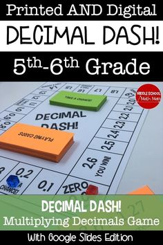 """Mar 20, 2021 - Decimal Dash is a board game that helps students practice multiplying decimals. This game includes a printed and digital version. Students must answer problems involving multiplying decimals as they move their game piece around the game board. Landing on a """"Take a Chance"""" spot adds some luck into th... Fun Math, Math Activities, 6th Grade Math Games, Decimal Games, Slide Games, Multiplying Decimals, Math Board Games, Digital Board, Negative Numbers"""