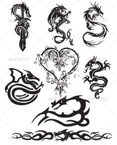 Buy Dragon Tattoo Pack by WKent on GraphicRiver. Pack of eight dragoon vector tattoos, vector image of a dragon tattoos in tribal pattern as well as chinese dragon ta. Tribal Dragon Tattoos, Small Dragon Tattoos, Chinese Dragon Tattoos, Dragon Tattoo Designs, Tribal Tattoo Designs, Nature Tattoos, Body Art Tattoos, Cool Tattoos, Tatoos