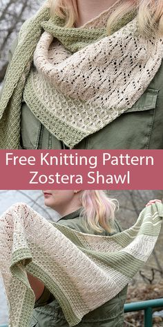 Free Knitting Pattern for Zostera Shawl Thanks for this post.Free Knitting Pattern for Zostera Shawl - Two color asymmetric shawl worked tip to tip, with sections of 4 row repeat Reed texture, garter stitch stripes, lace, and 2 row r# DIY Lace Knitting, Knitting Patterns Free, Knit Patterns, Free Pattern, Vogue Knitting, Knitting Designs, Cardigan Au Crochet, Knitted Shawls, Knit Crochet