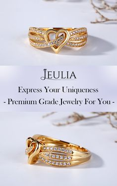 Express your uniqueness. Premium Grade Jewelry For You. This gold-tone band features in its heart design in the middle. Moreover,some sidetones are well set on the shank,making the band more brilliant and charming. Gold Ring Designs, Gold Earrings Designs, Wedding Ring Designs, Gold Jewellery Design, Gold Jewelry Simple, Gold Rings Jewelry, Gold Bangles, Jewlery, Gold Finger Rings