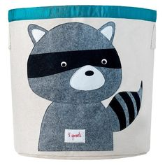 3 Sprouts Canvas Extra Large Round Storage Bin - Raccoon : Target
