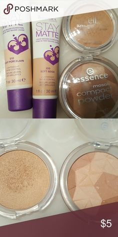 Face set Two shades of Rimmel stay matte foundation: 010 Light Porcelain and 200 Soft Beige. They work well for highlighting/contouring. Elf bronzer in Sun Kissed, Essence bronzer in Sunkissed Beauty. ELF Makeup Foundation
