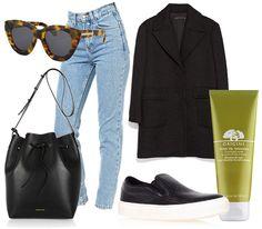 "The Mom Jeans: Karen Walker ""Anytime"" sunglasses, American Apparel high-waisted jeans, Zara Coat, Mansur Gavriel bucket bag, Kurt Geiger slip-ons, Origins Drink Up Intensive Mask - teetharejade.com"