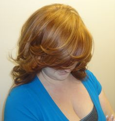 Gorgeous copper red color with warm golden copper highlights.. done by me :)