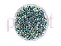CrystaLove™ / kryształki szklane / bicone / 3mm / ciemny malachit / opalizujący / 148szt