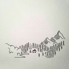 Illustration for the bottom of business card for his wood carving business. He does beautiful wood carvings and lives in a sweet van in the cascades, check him out! Mini Drawings, Small Drawings, Doodle Drawings, Easy Drawings, Doodle Art, Drawing Sketches, Illustrations, Illustration Art, Minimalist Drawing