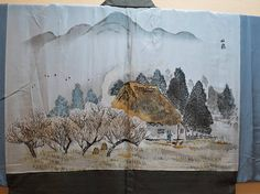 HAORI MENS Antique Japanese Mans Brown Tsumugi Silk Haori