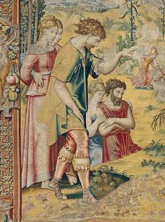 "Design attributed to Pieter Coecke van Aelst (Netherlandish, 1502–1550). The Fables of Ovid: Flaying of Marsyas Tapestry in the set of the Poesia (detail), ca. 1547–48. Woven under the direction of Willem de Pannemaker, Brussels, before 1556. Patrimonio Nacional, Palacio Real de La Granja de San Ildefonso (TA 19/4, 10004158) | This work is featured in ""Grand Design: Pieter Coecke van Aelst and Renaissance Tapestry,"" on view October 8, 2014–January 11, 2015. #Coecke #tapestrytuesday…"